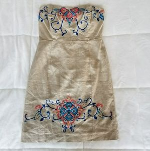 Banana Republic embroidered sz 8 strapless dress